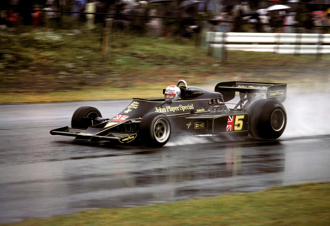 Mario Gabriele Andretti (USA) (John Player Team Lotus), Lotus 77 - Ford-Cosworth DFV 3.0 V8 (finished 1st)  Mario Andretti 1976 Japanese Grand Prix ( Source : f1-history.deviantart.com )